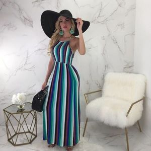 Diva Boutique Online Smocked Striped Maxi